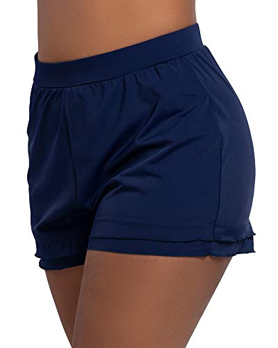 Comaba Women Denim Plus Size Folded Hem Slimming High Rise Shorts