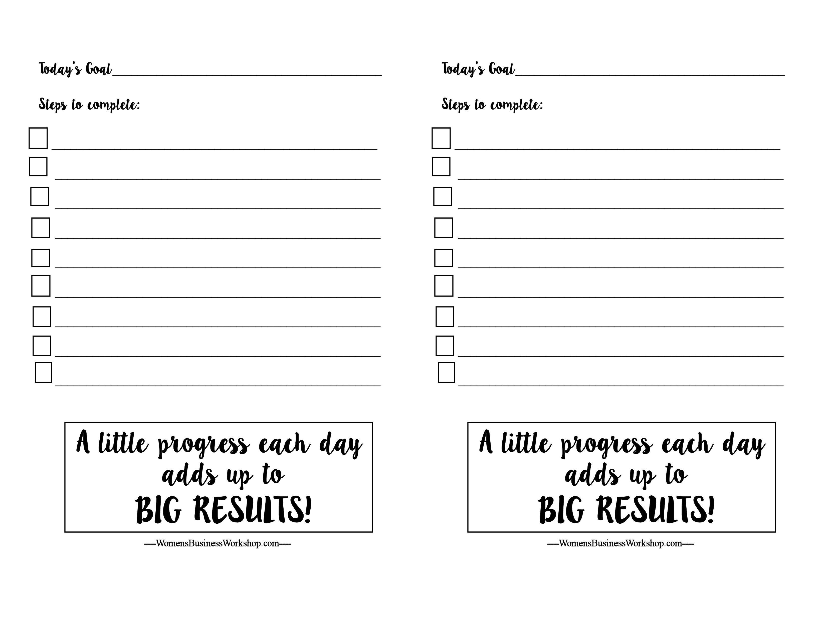 Daily Goal Setting Printable