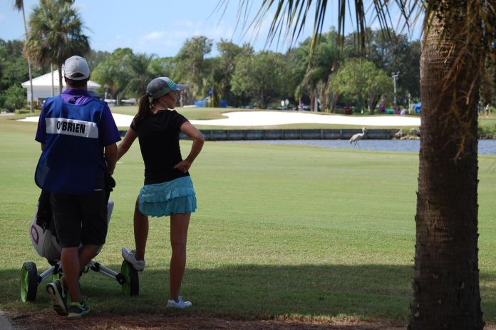LPGA player and caddy