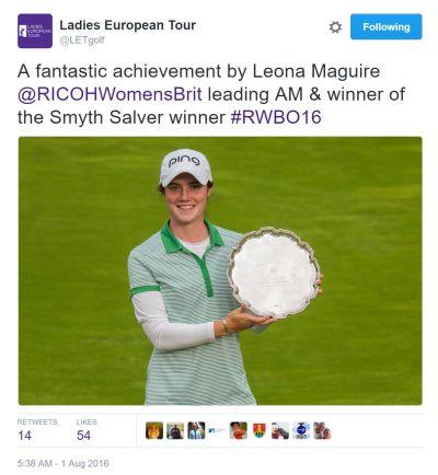 Leona Maguire LETgolf Tweet