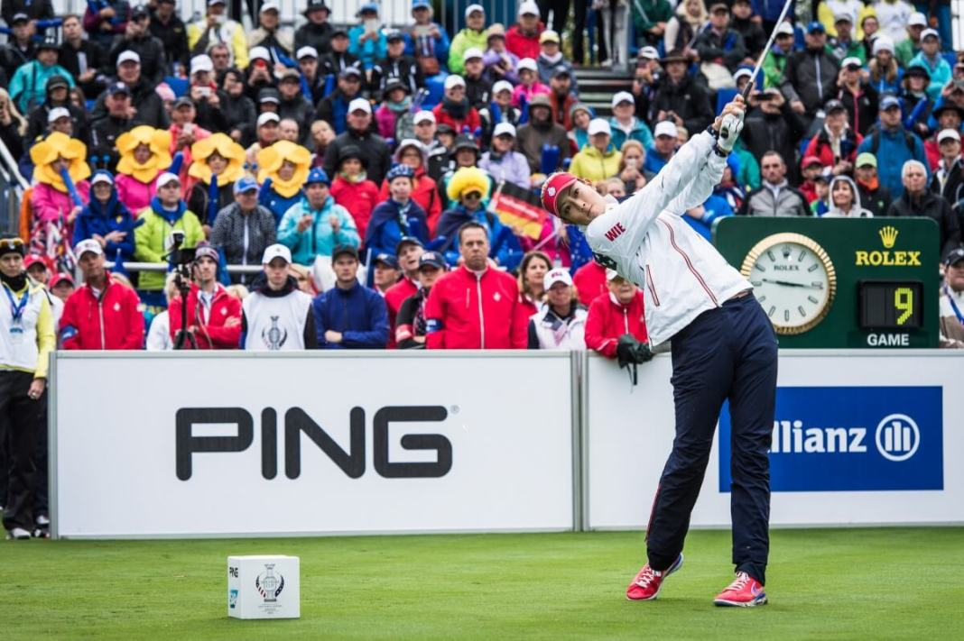 Michelle Wie drives off the first tee 2015 Solheim Cup WomensGolf.com