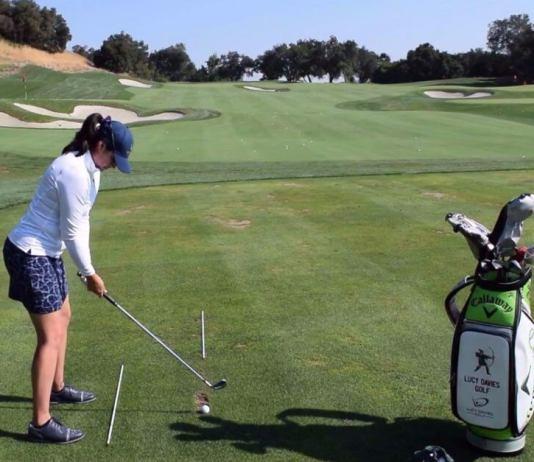 Lucy Davies How to setup alignment sticks Womens Golf