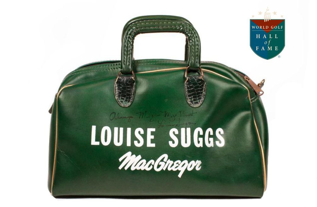 """MacGregor shag bag given as a gift from Louise Suggs to Meg Mallon. On it Suggs wrote: """"Always Meg – My Best. Louise Suggs."""" Bag currently on loan to the World Golf Hall of Fame & Museum courtesy of Meg Mallon."""