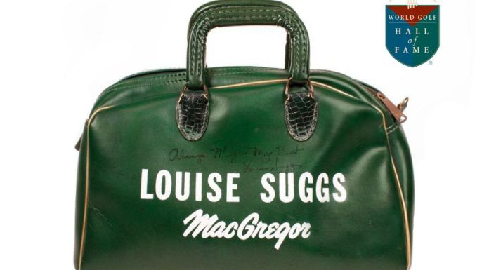 "MacGregor shag bag given as a gift from Louise Suggs to Meg Mallon. On it Suggs wrote: ""Always Meg – My Best. Louise Suggs."" Bag currently on loan to the World Golf Hall of Fame & Museum courtesy of Meg Mallon."