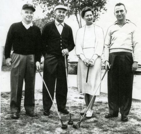 Marilynn Smith partnered with Ben Hogan and two amateurs during a Pro-Am for the Dallas Open at the Glen Lakes Country Club the week of April 7, 1957. Photograph courtesy of the World Golf Hall of Fame & Museum.