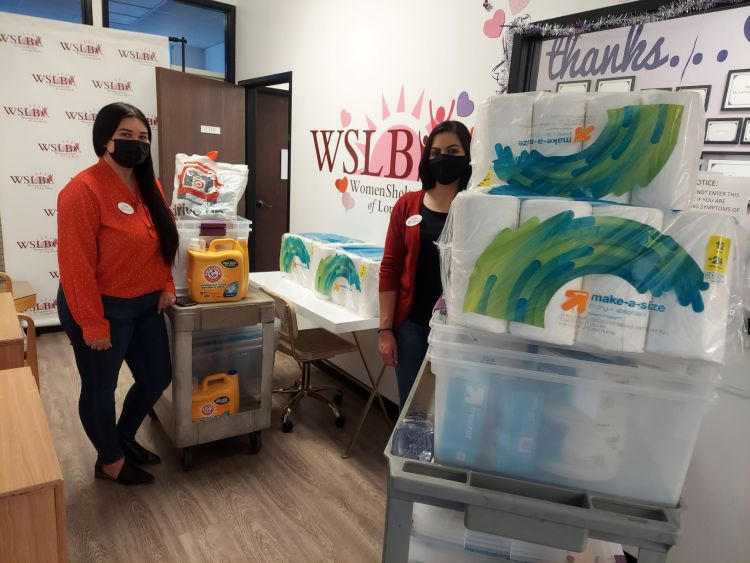 Ashley of Signal Hill Target and Kathia of Lakewood Target stopped by with donation of brand new storage containers, household cleaning products and paper goods for our clients and their children.  Thank you!!!