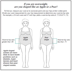 Diagram comparing apple and pear body shapes in women