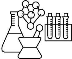 Drawing of beakers, test tubes, and mortar and pestle