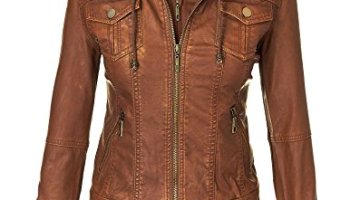c42f32d33 MBJ Womens Faux Leather Motorcycle Jacket with Hoodie | Womens Jean ...