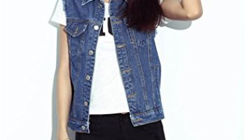 7c129361580d04 E-FAK Womens Luxury Blue Denim Vests Sleeveless Button Fashion Jeans Tops