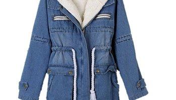 cb8acbafc28c1 Shineflow Women s Fleece Lined Hood Denim Jeans Parka Jacket Overcoat  (Small)