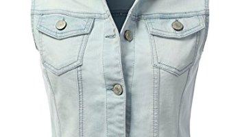 b8704fe0b374fa DRESSIS Womens Casual Sleeveless Denim Jean Cropped Vest Jacket