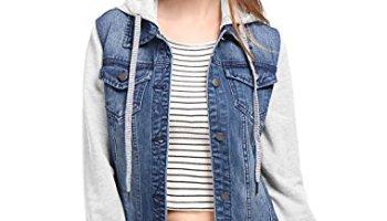 dc13a906323880 Allegra K Women s Buttoned Washed Denim Vest Jacket w Chest Flap ...