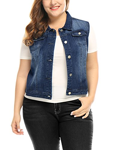 uxcell Womens Plus Size Button Down Washed Denim Jacket with Chest Flap Pocket