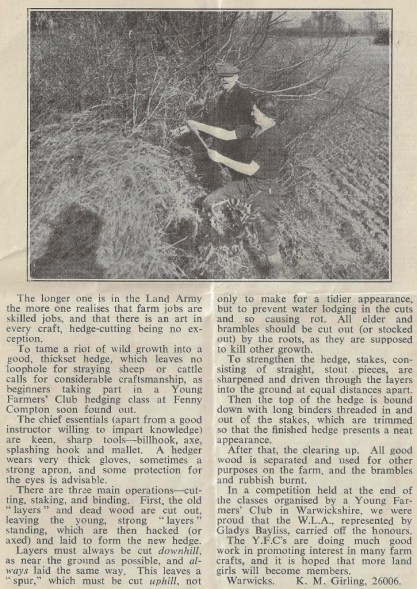 Article on Hedging written by K.M.Girlingby (26006) taken from 'The Land Girl' August 1943, p7