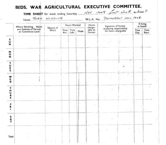 Bedfordshire War Ag Weekly Timesheet