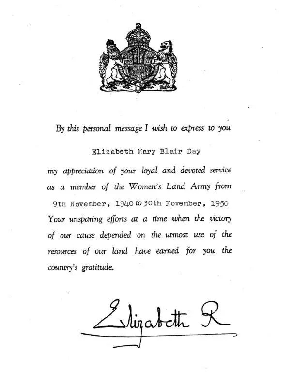 WLA-Congratulatory-letter-from-WLA-Patron-Queen-Elizabeth-consort-of-King-George-VI-to-long-service-land-girl-30-Nov-1950