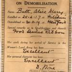 WW1 Certificate of Discharge On Demobilisation
