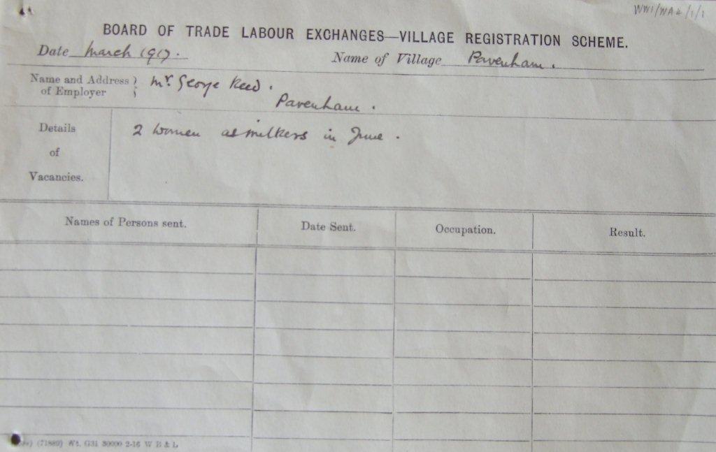 WW1 Village Registration Scheme Form