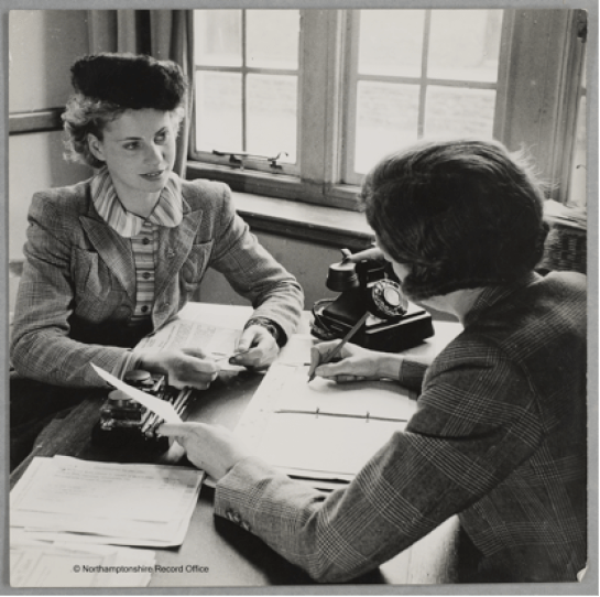 Iris Joyce leaving her office for an interview at Northamptonshire Institute of Agriculture. Source: D8793, Northamptonshire Record Office. Courtesy of Dr David Wilson.