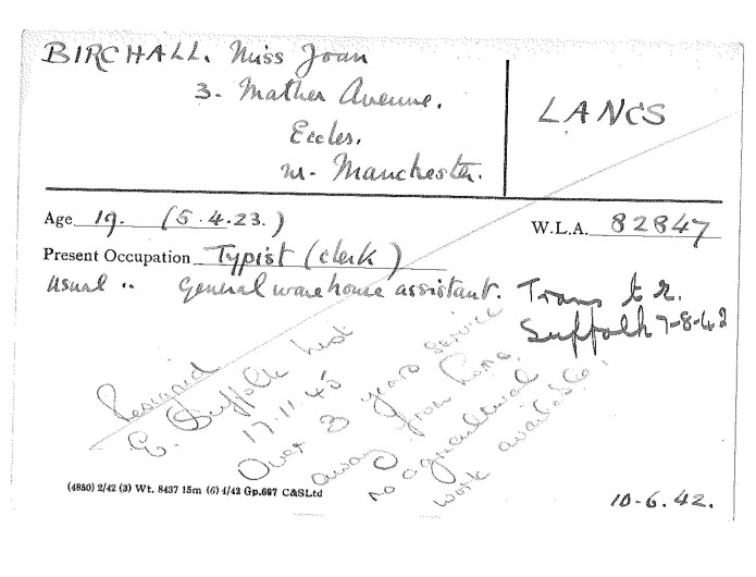 Women's Land Army service record card for Joan Birchall