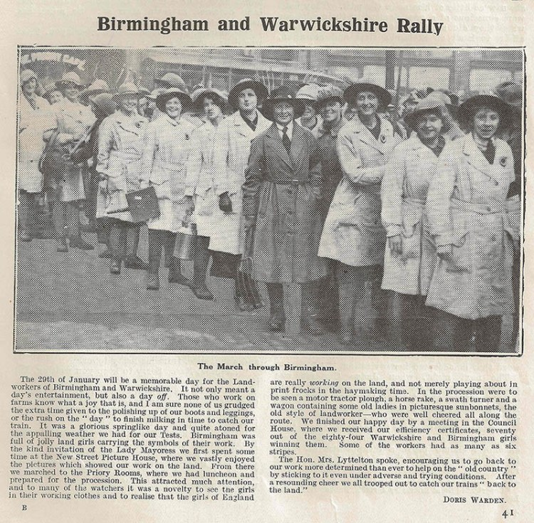 Birmingham and Warwickshire Rally Source: The Landswoman March 1918, p41