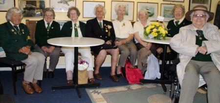 Eastbourne Land Girl Veterans Group met up at the former 1940s Brenzett WLA Hostel building - now Romney Marsh Wartime Collection museum - on Sunday 17 August 2014 for an annual reunion (Left to right): Stella Masters, Olive French, Evelyn Light, Doris Bradley, Gladys Marshall, Molly Paterson, Rose Daniels, Susie Crouch