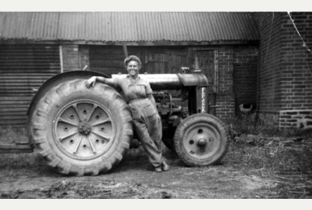 On the land- Noreen Copson, of Anstey, with her Fordson tractor at the War Agriculture Depot, in Syston, in 1941 Source: Leicester Mercury