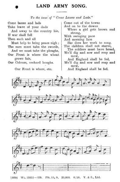WW1 WLA Song (to Comes Lasses & Lads tune) Source: Women's Land Army LAAS Handbook, c.1917'<br /> Courtesy: Stuart Antrobus
