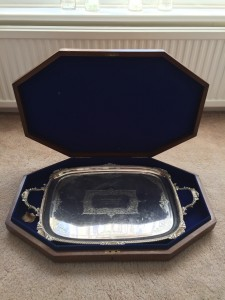 Engraved tray presented to Marjorie Haigh for her work as county organiser.