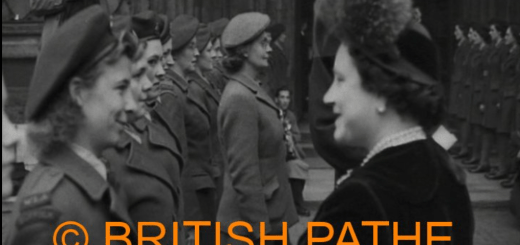 HRH The Queen Mother talking with a member of the Women's Land Army at the Harvest Festival In Westminster Abbey, 01/11/1948. Click on the image for a link to the full video.