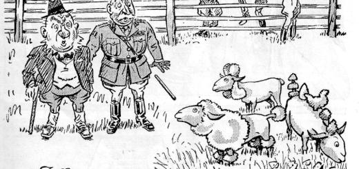 """Funny the different kinds of jobs these land girls had..."" Cartoon. Source: Laughs Around The Land Courtesy of Stuart Antrobus"