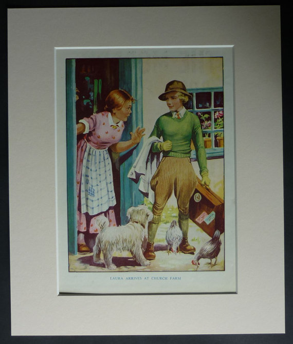 "1940s vintage mounted children's print of a land girl in her uniform arriving at the farm she is to work on. ""Laura Arrives at Church Farm"". Available framed. Date printed: 1946."