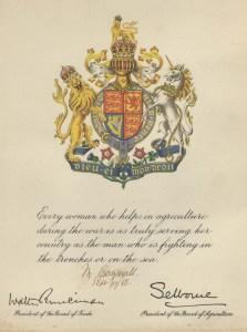 Martha First World War Women's Land Army Certificate