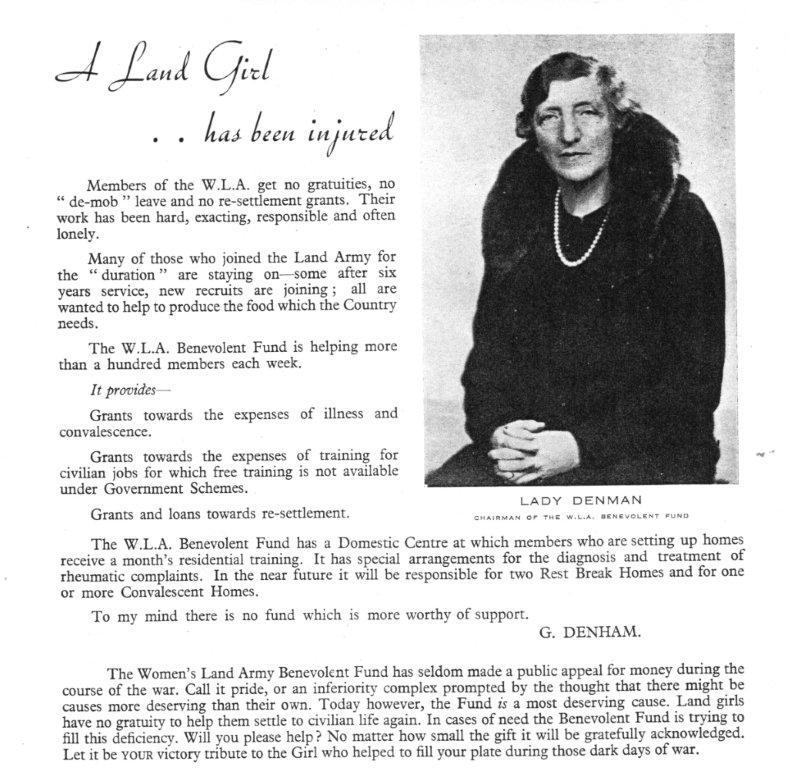 WLA Benevolent Fund postwar appeal by Lady Denham in 1946 Beds WLA Parade souvenir programme Source: Stuart Antrobus