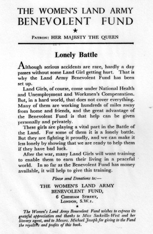 WLA Benevolent Fund wartime appeal inn Sackville-West book 1944