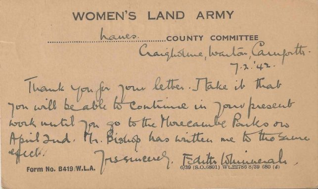 Letter confirming Dorothy Clayden's upcoming work at Morecombe Parks, 7th February 1942
