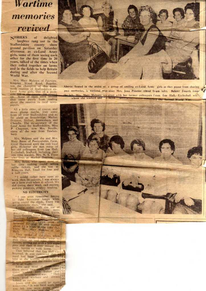 'Wartime Memories Revived' Newspaper Article