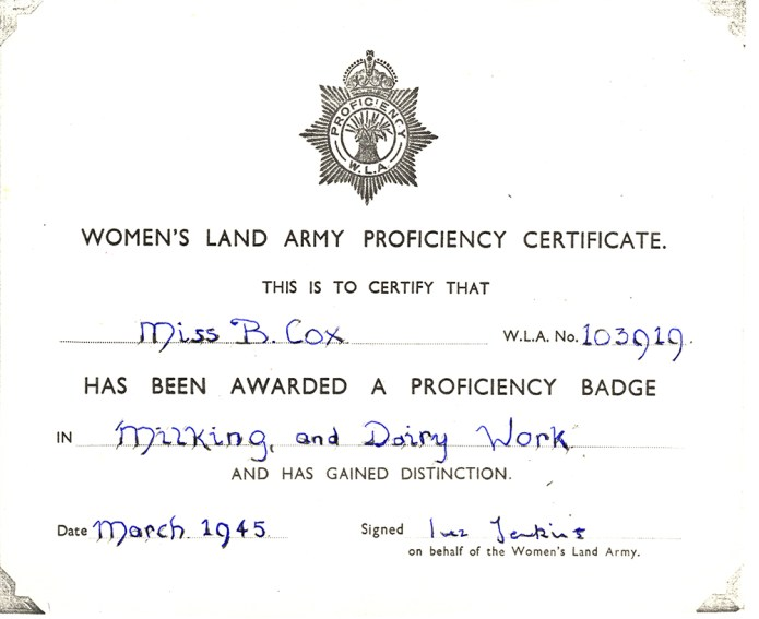WLA Proficiency Certificate for B Cox, March 1945
