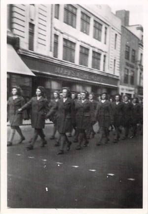March Past in Glouchester. 3rd from left, Hilda and Joy behind.