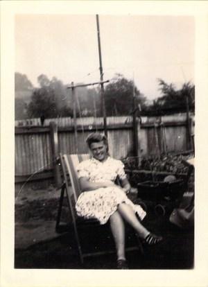 "Joy Smith in the garden of ""The Ark""."