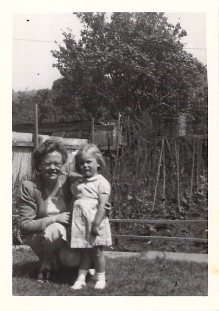 Hilda and June in the garden, at Wootton-u-Edge, 1943.