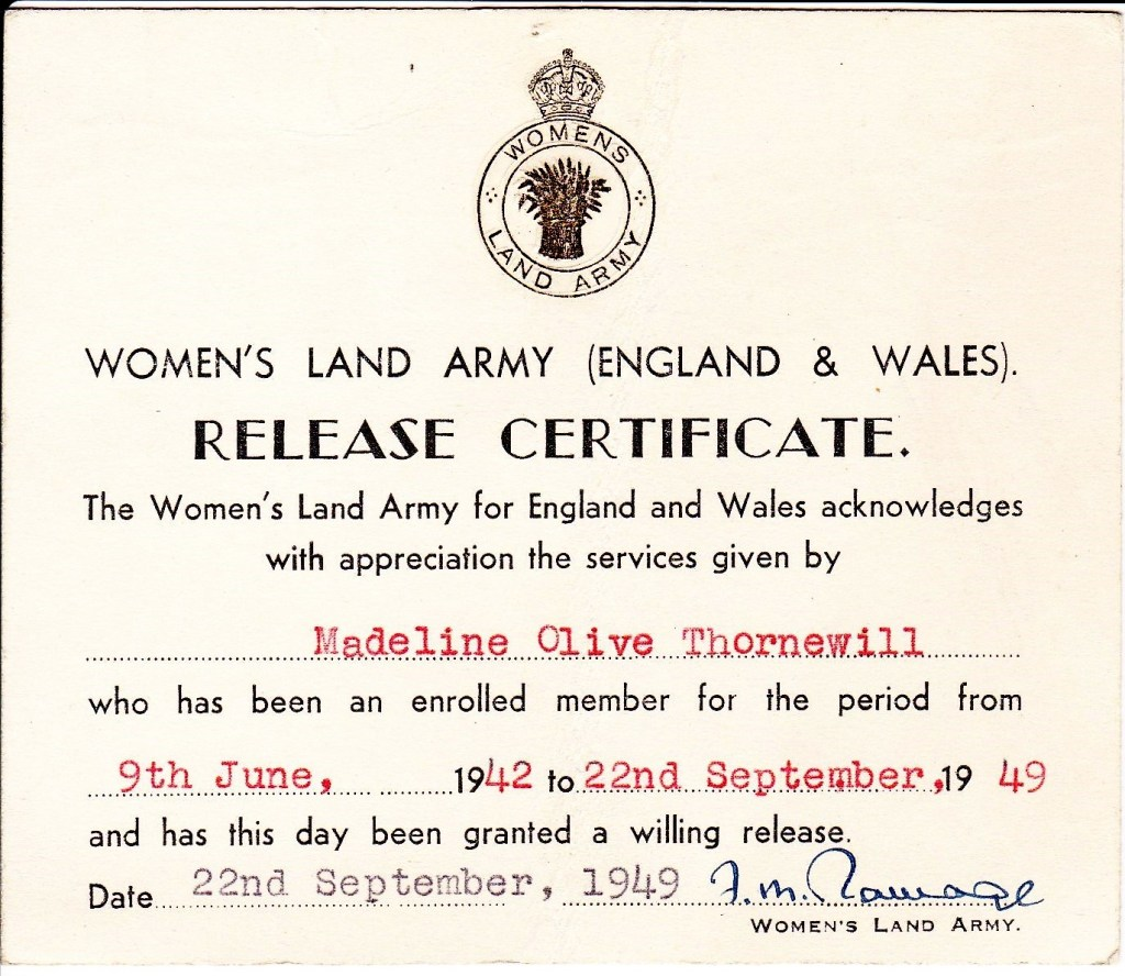 Madeline Olive Thornewill WLA Release Certificate