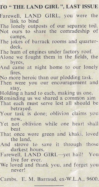 To The Land Girl, poem by E.M.Barraud.