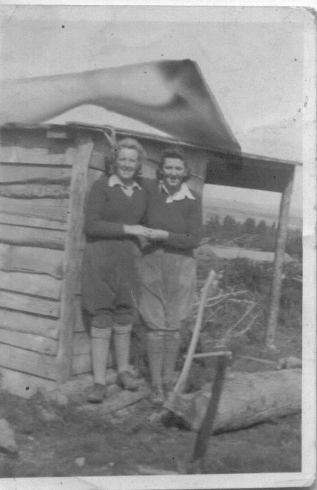 Gwyneth Mary Edwards( on right) in WTC Vaynol Estate North Wales around 1943