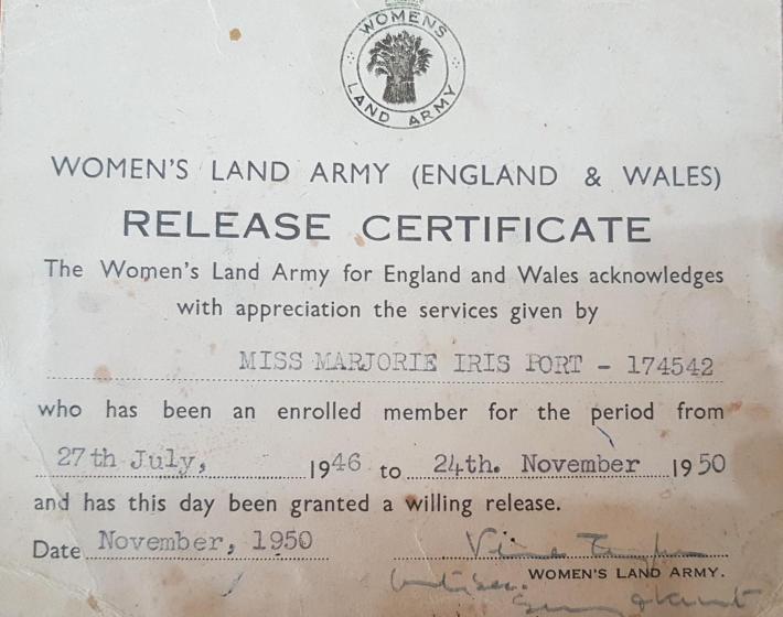 Marjorie Port WLA Certificate
