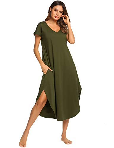 CzDolay Cotton Nightdress Womens Soft Sleepwear Short Nightgowns Knit Sleepshirts S-XXL