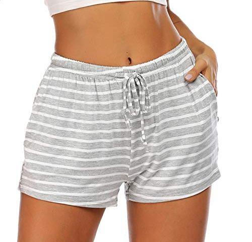 Abollria Mens Pyjama Shorts Lounge Nightwear Pants with Button Up and Drawstring Sleepwear Bottoms Shorts
