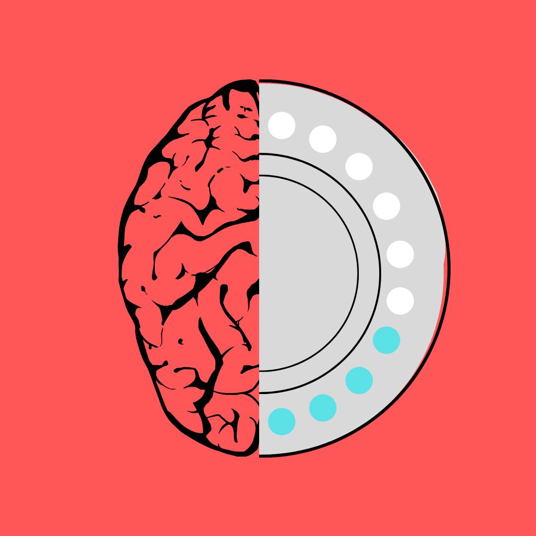 birth control, the pill, mental health, depression, graphic, brain