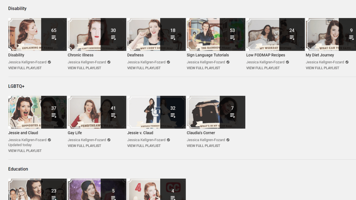 Jessica's YouTube channel, showing the organisation of her playlists.